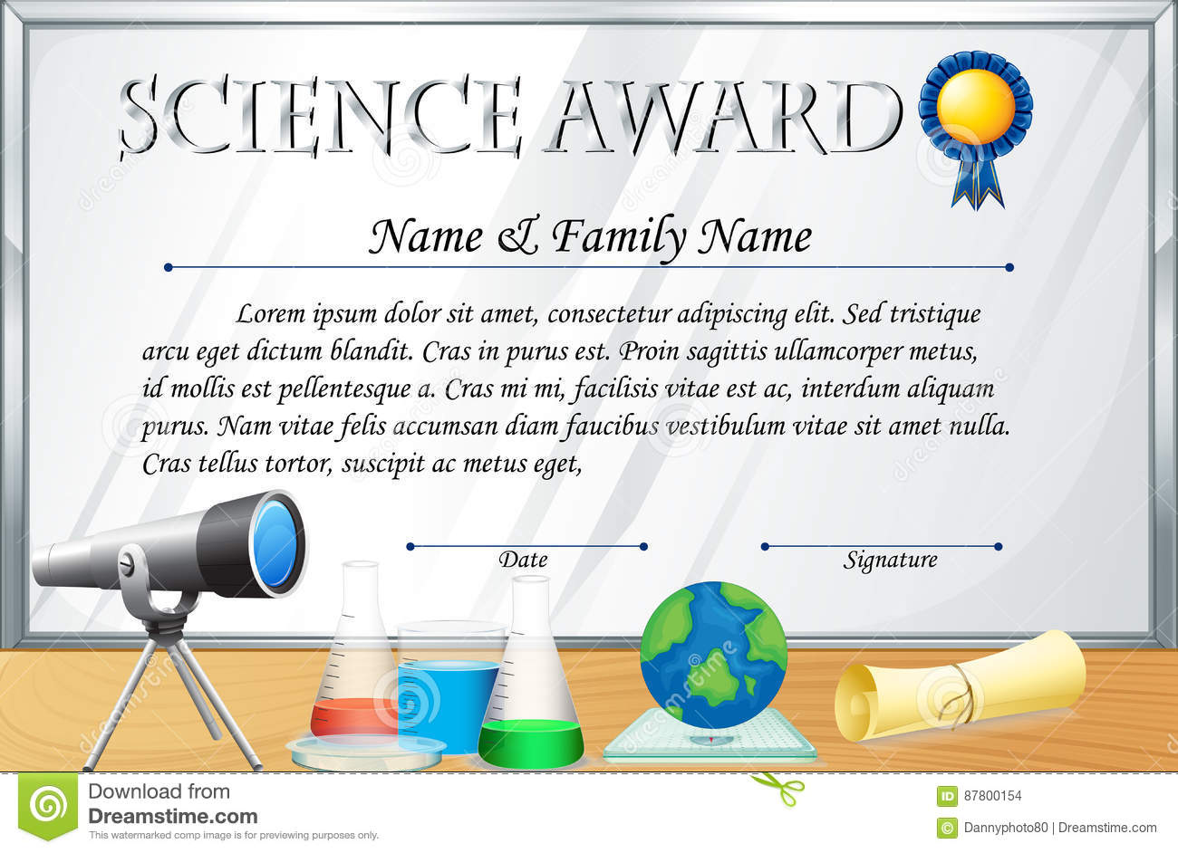 Certificate Template For Science Award Stock Vector Illustration