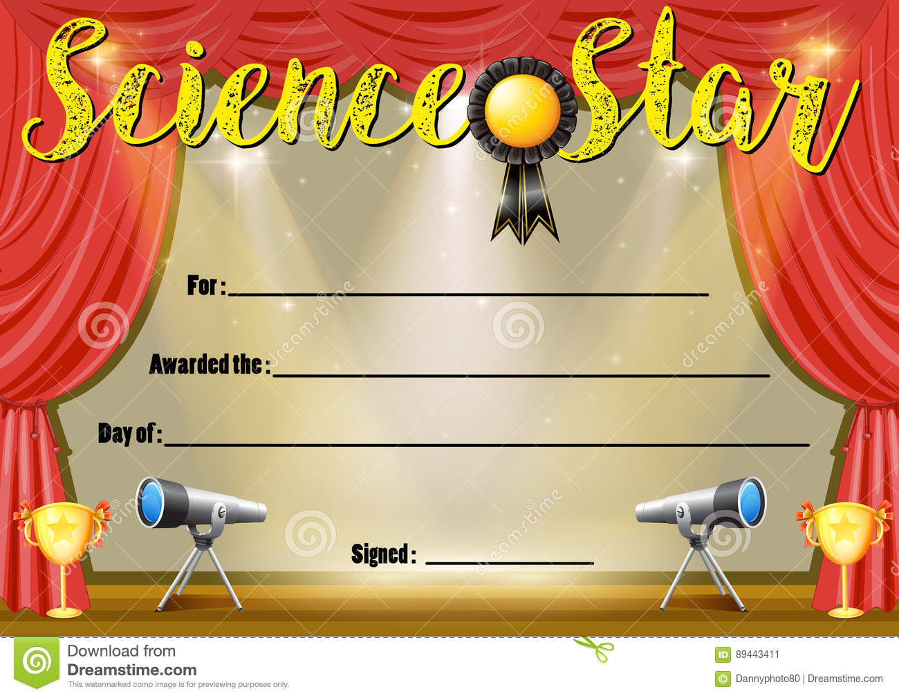 Certificate Template For Science Star Stock Vector Illustration Of