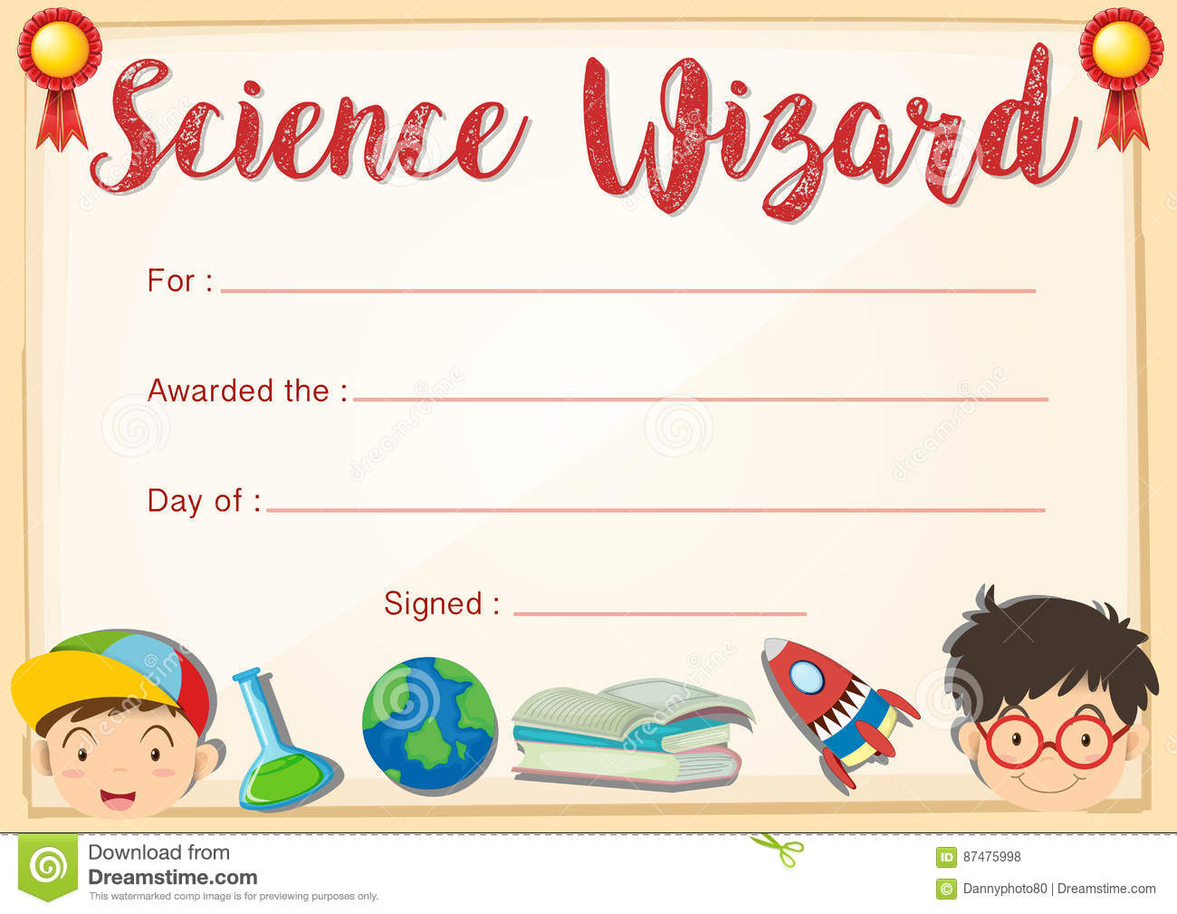 Certificate template for science wizard stock vector image 87475998 certificate template for science wizard yelopaper Images