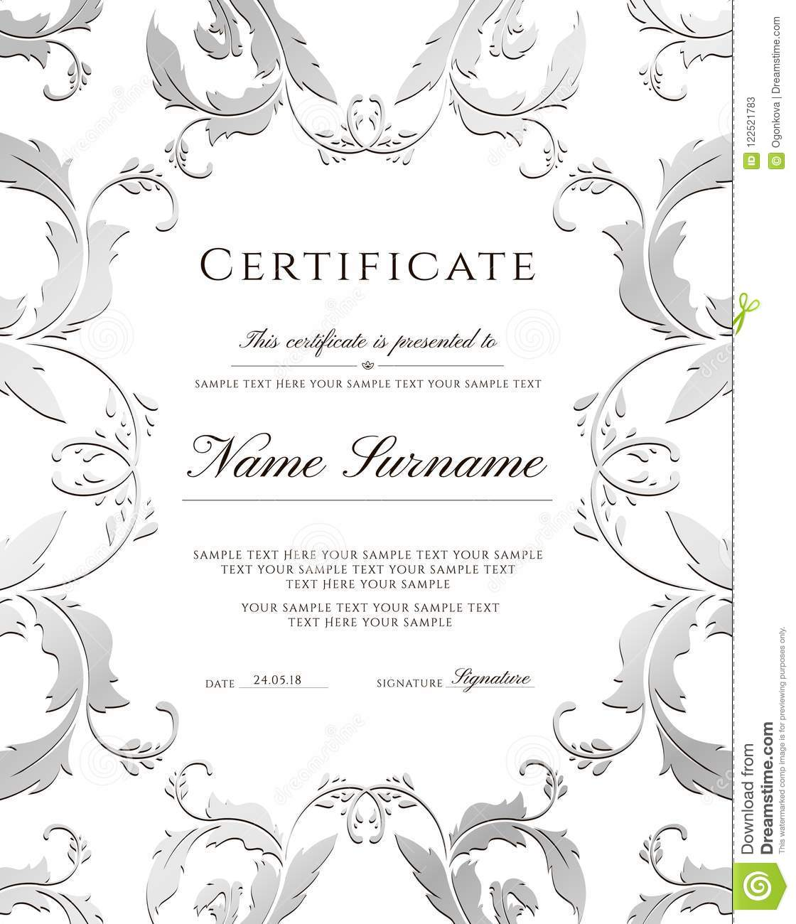 certificate template silver border editable design for diploma