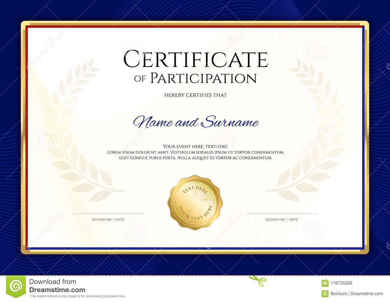 Certificate Template In Sport Theme With Blue Border Frame ...