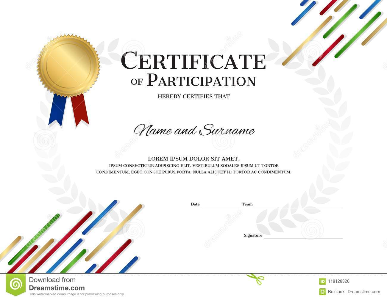 certificate template in sport theme with border frame diploma d