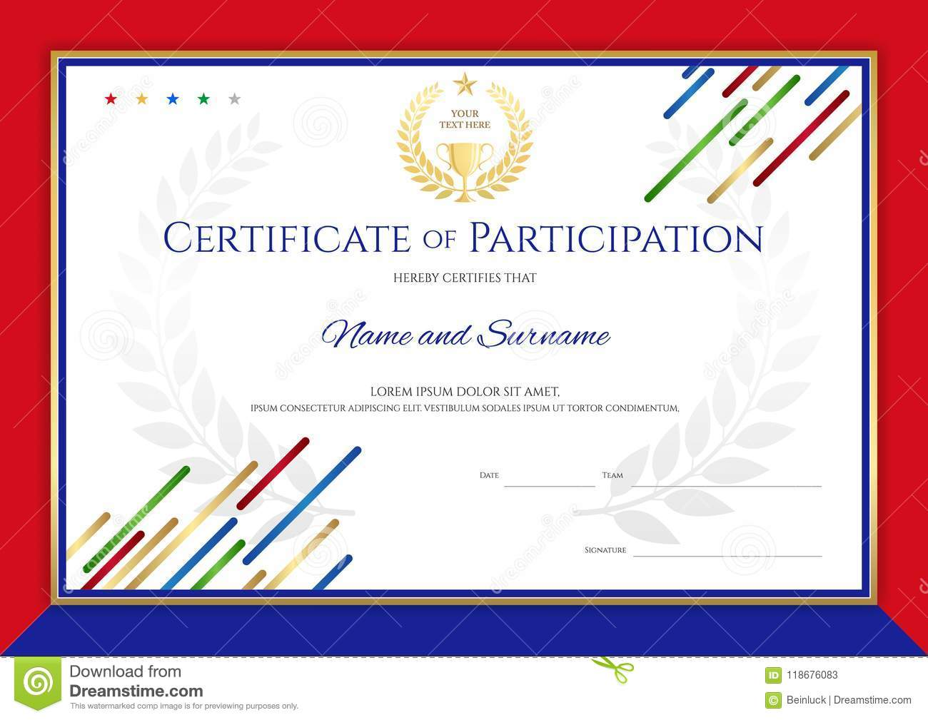 Certificate Template In Sport Theme With Border Frame ...