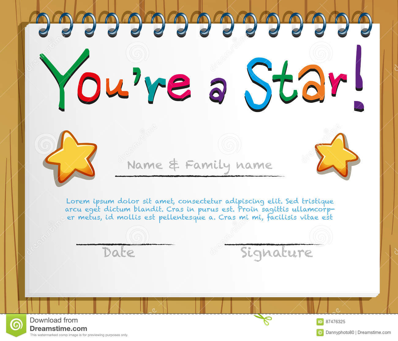 Certificate Template With Stars Stock Vector Illustration Of