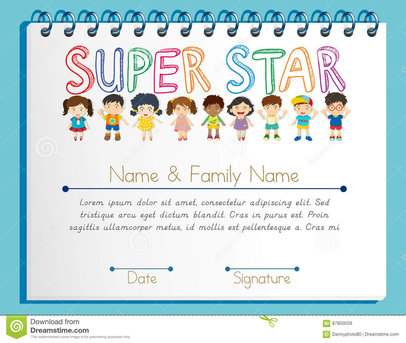 Certificate Template For Super Star With Many Children