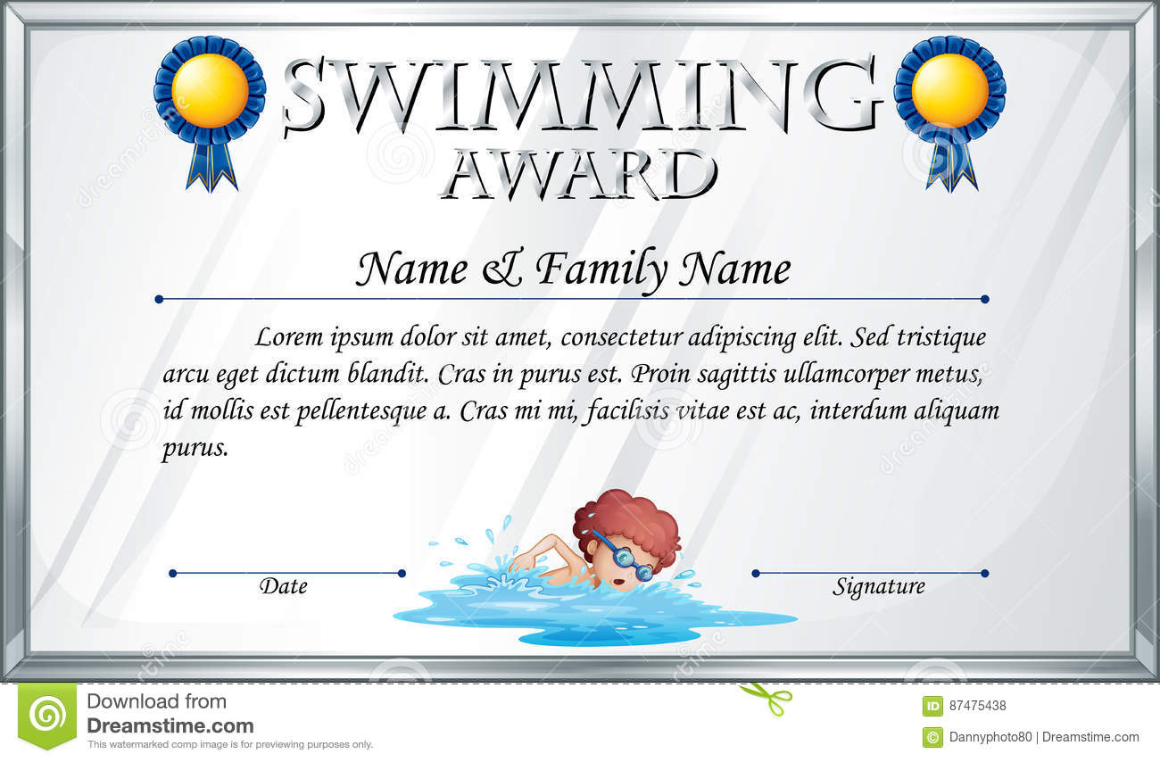 Certificate template for swimming award stock vector image 87475438 certificate template for swimming award xflitez Gallery