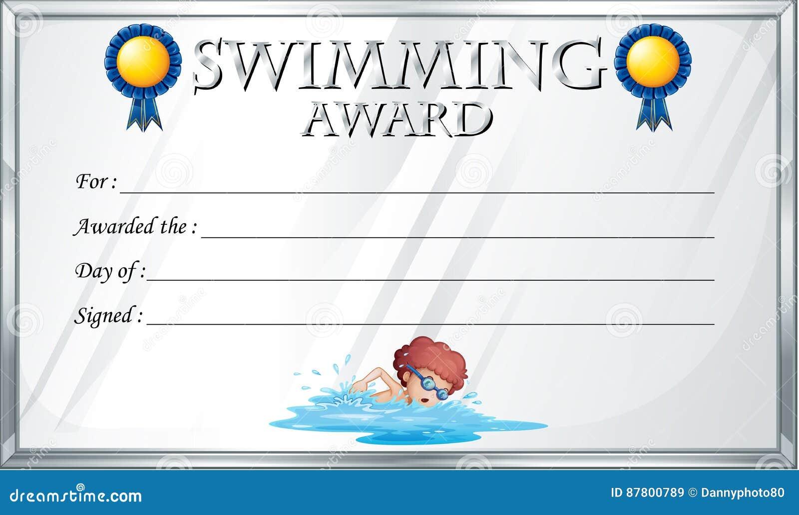 Certificate Template For Swimming Award Stock Vector Illustration