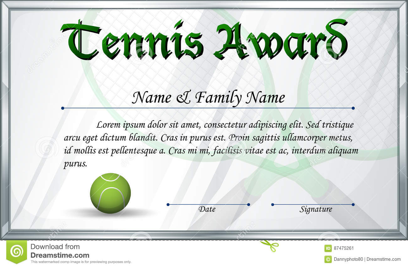 tennis certification  Certificate Template For Tennis Award Stock Vector - Image: 87475261