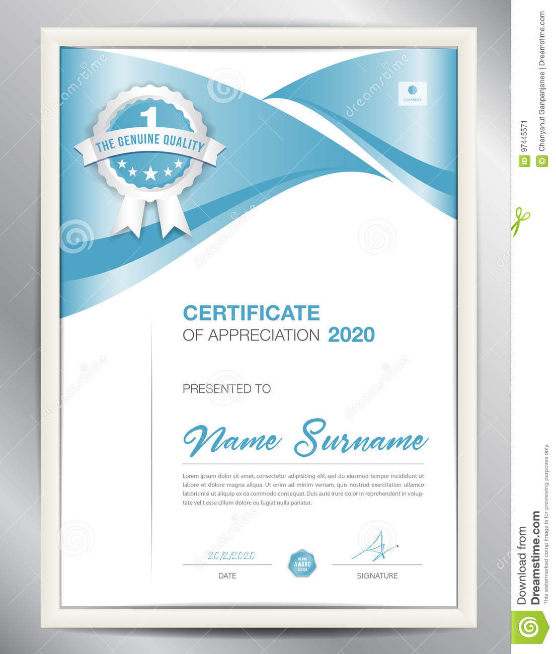certificate template vector illustration diploma layout in a4 stock