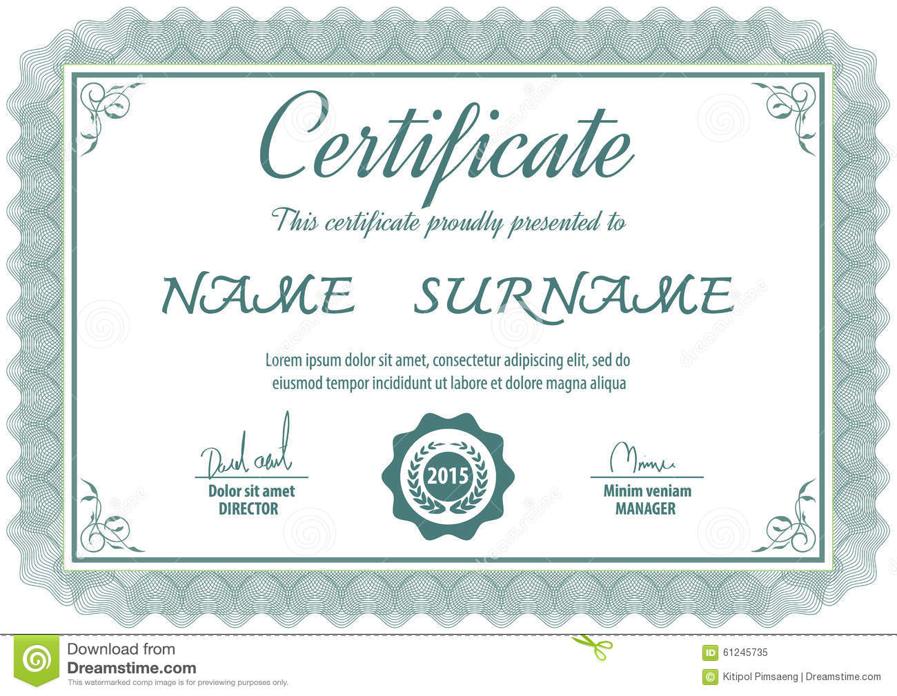 Certificate Templatevector Illustration Stock Vector Illustration