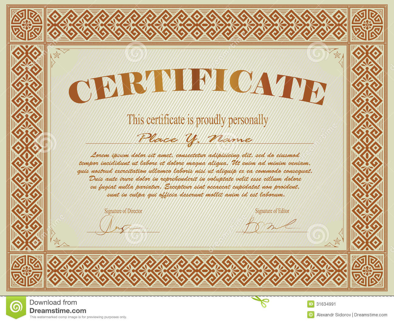 Certificate Template Stock Image - Image: 31634991