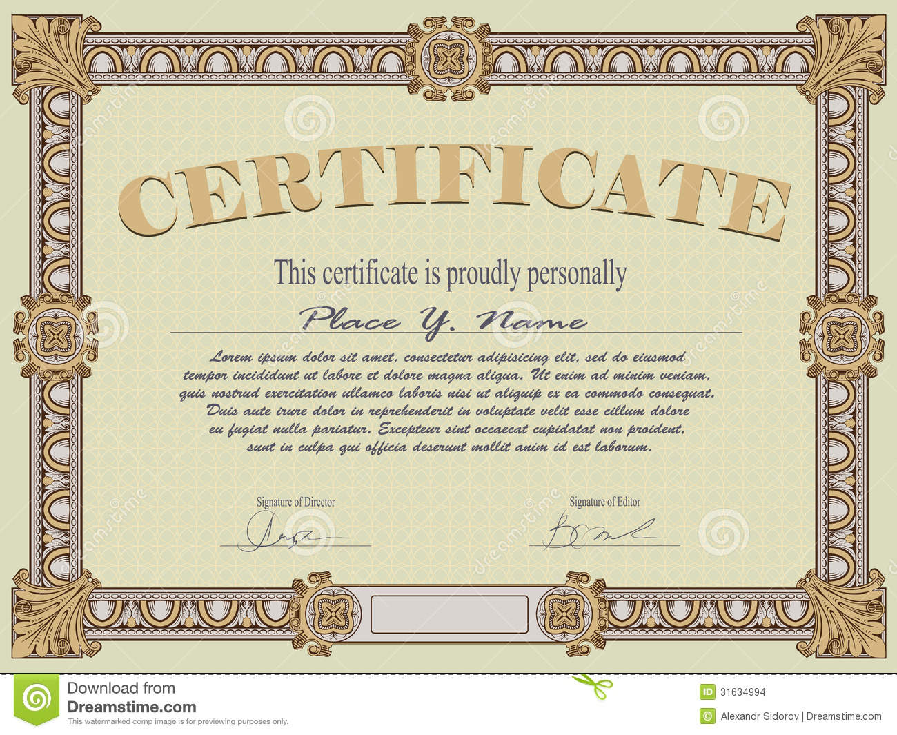 View certificate template for Certificate of degree templates