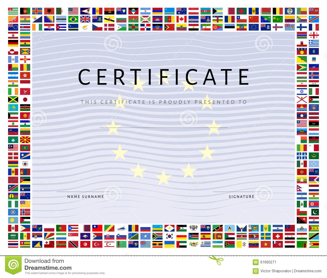 certificate template with world flags icons as border
