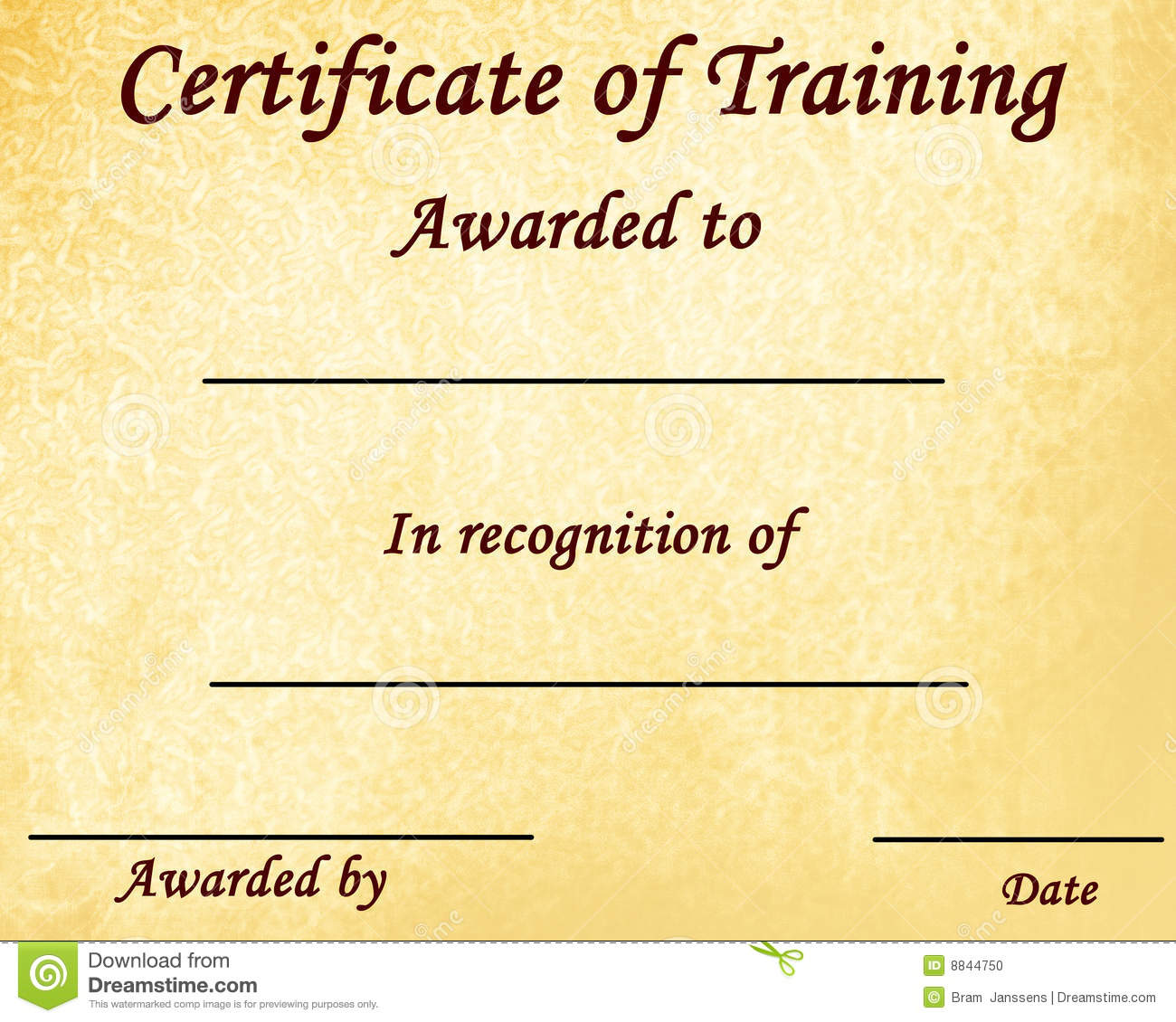 Doc580456 Certificate of Training Template 6 Free Training – Certificate for Training
