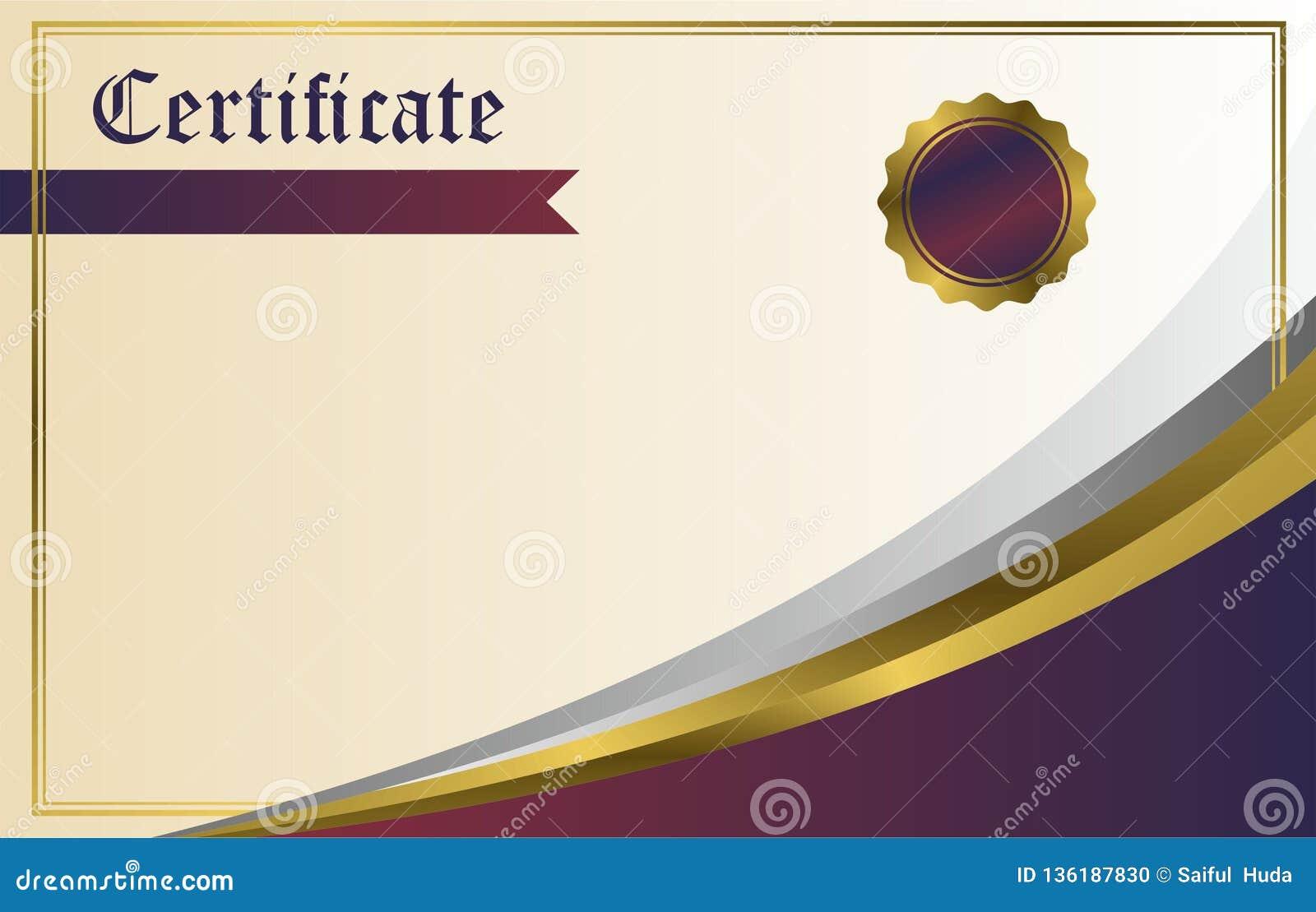 certificate background design vector purple gold stock