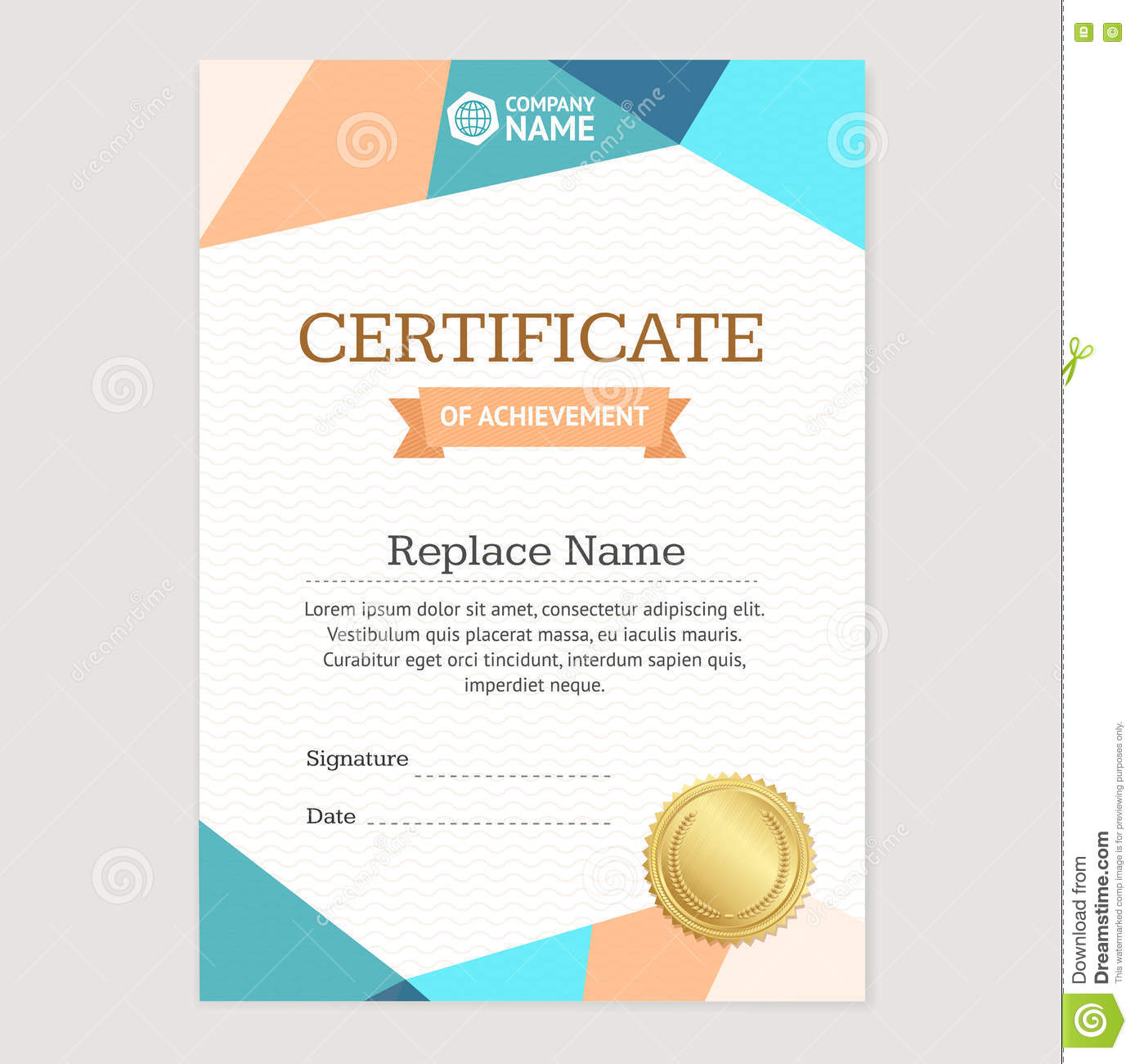 Certificate Vertical Template Vector Stock Vector Illustration Of