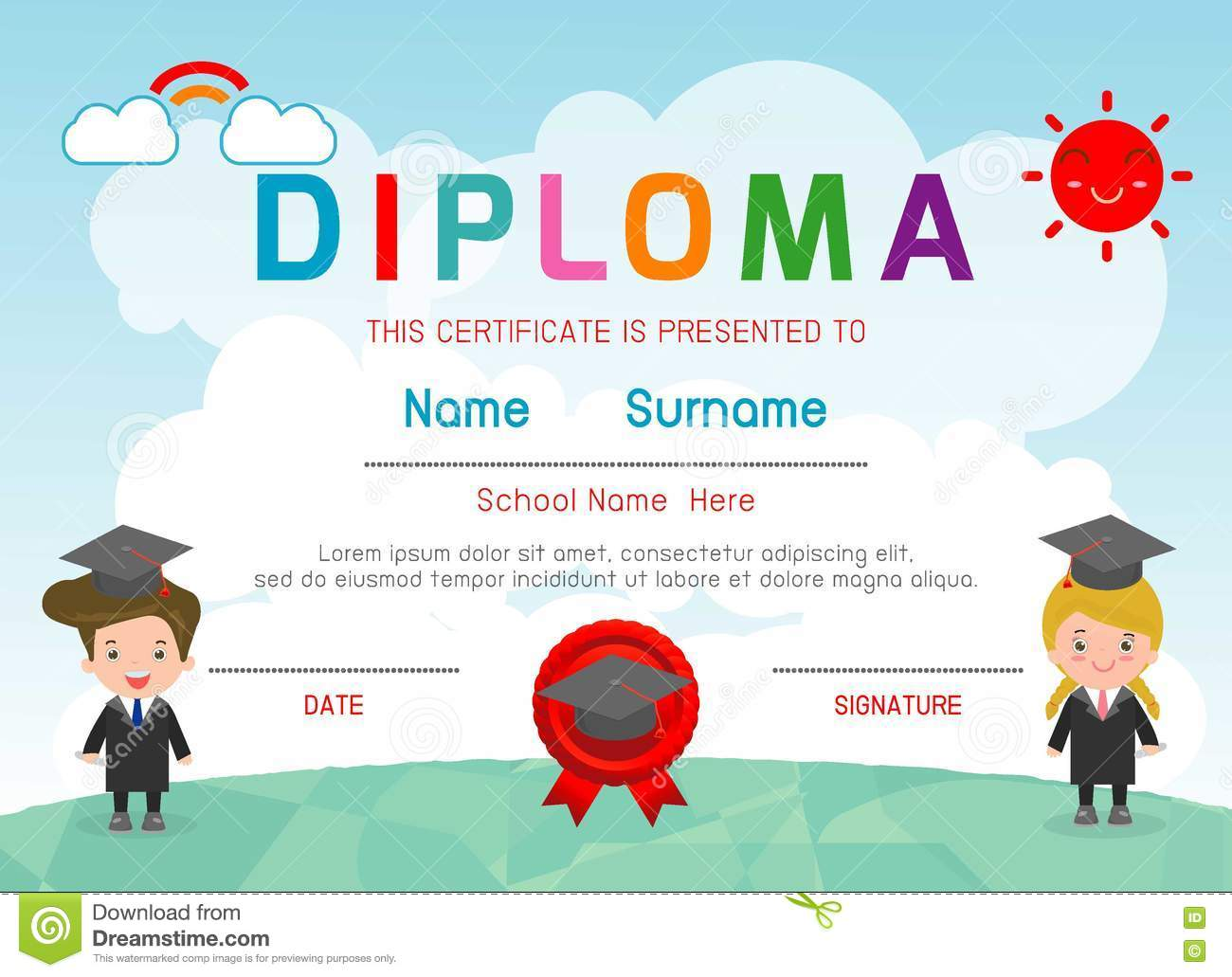certificates kindergarten and elementary preschool kids diploma