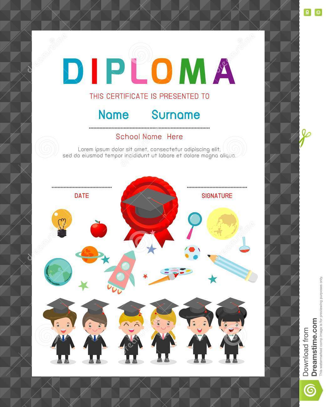 download certificates kindergarten and elementary preschool kids diploma certificate background design template stock vector