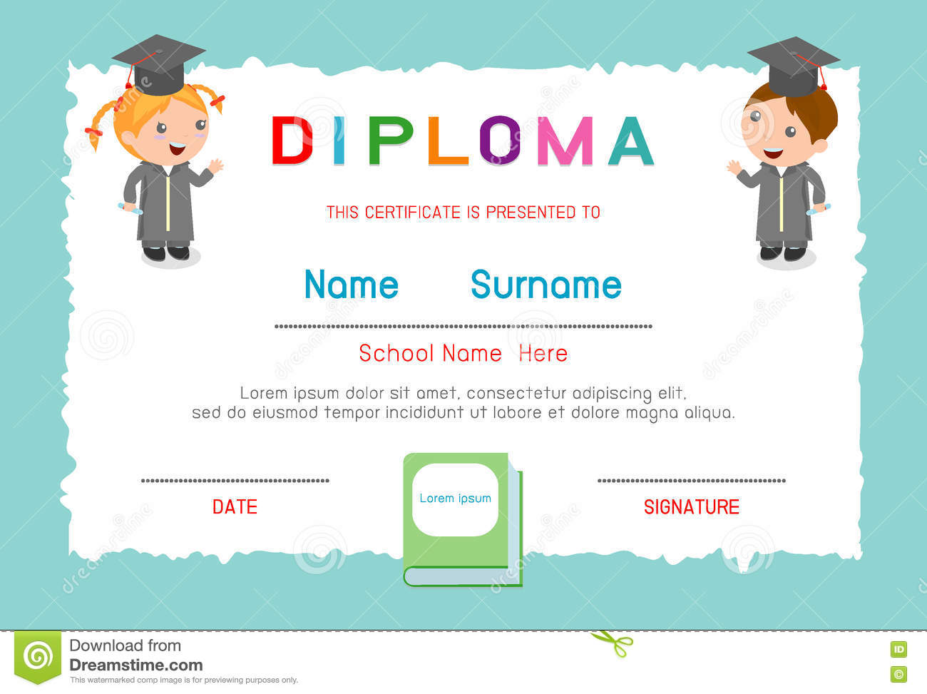 certificates kindergarten and elementary preschool kids diploma certificate background design template diploma template for