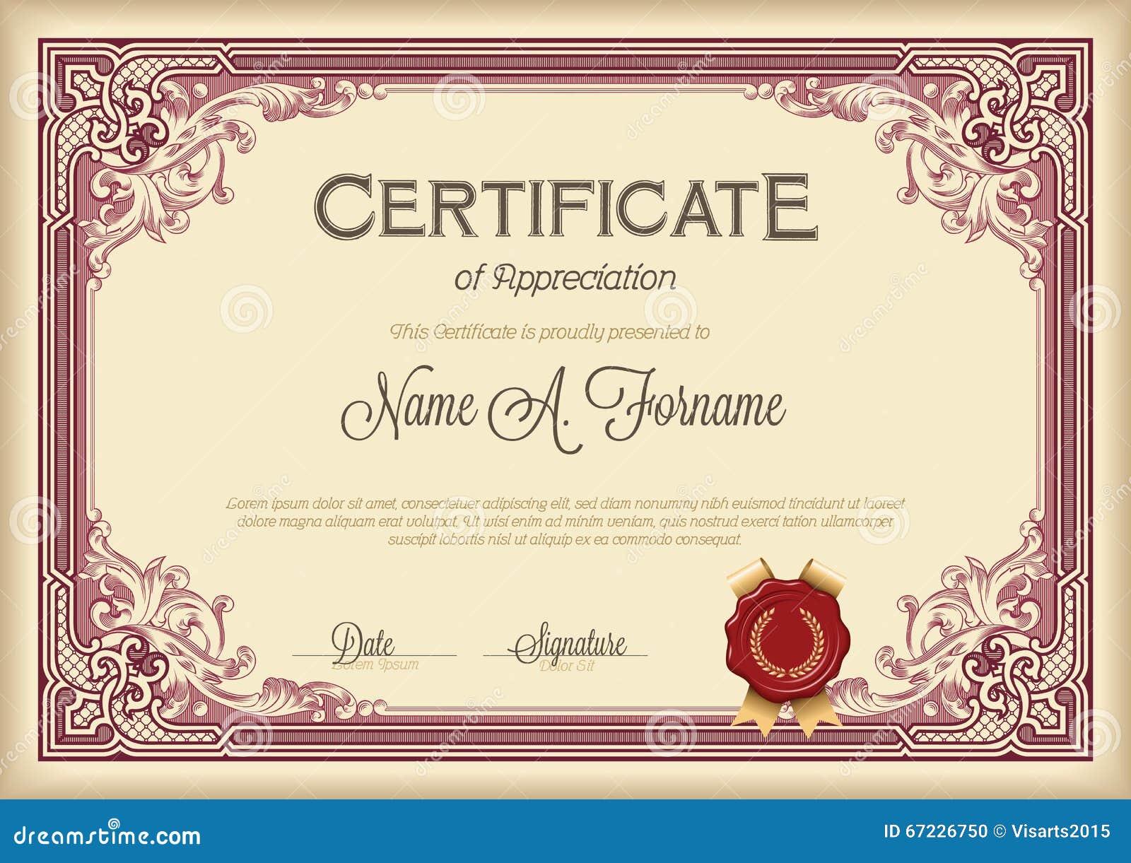 Certificato del telaio floreale d annata di apprezzamento