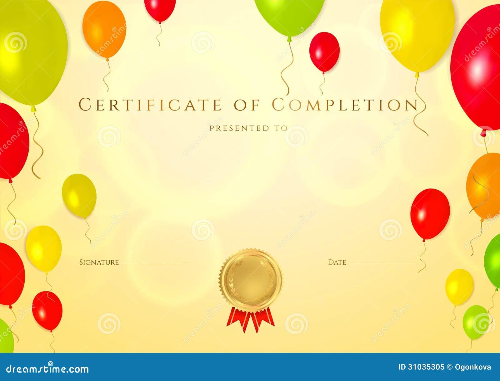 Certificato di completamento (modello) per i bambini