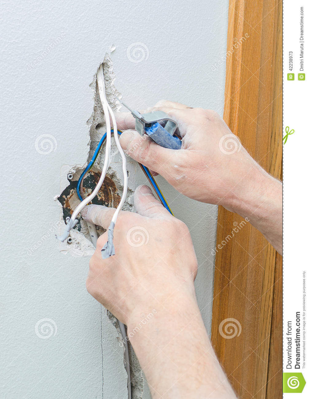Certified Electrician Installing Socket Stock Image Of Hands Wiring Receptacle From Light