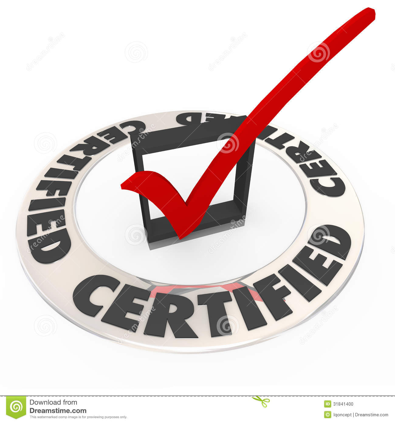Certified Ring Word Check Mark Box Approved License Symbol Stock