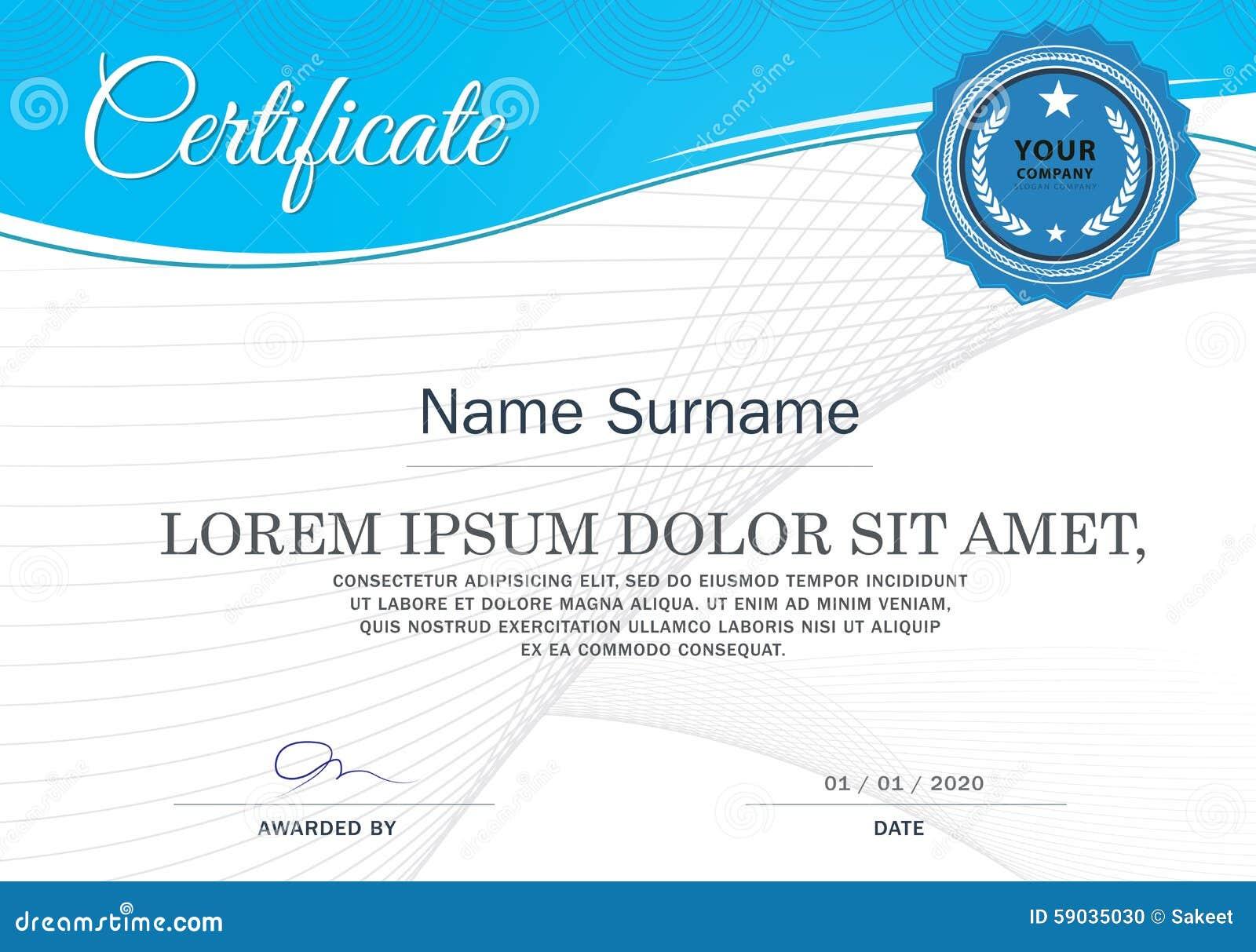 Certifikat av mallen för prestationramdesign, blått