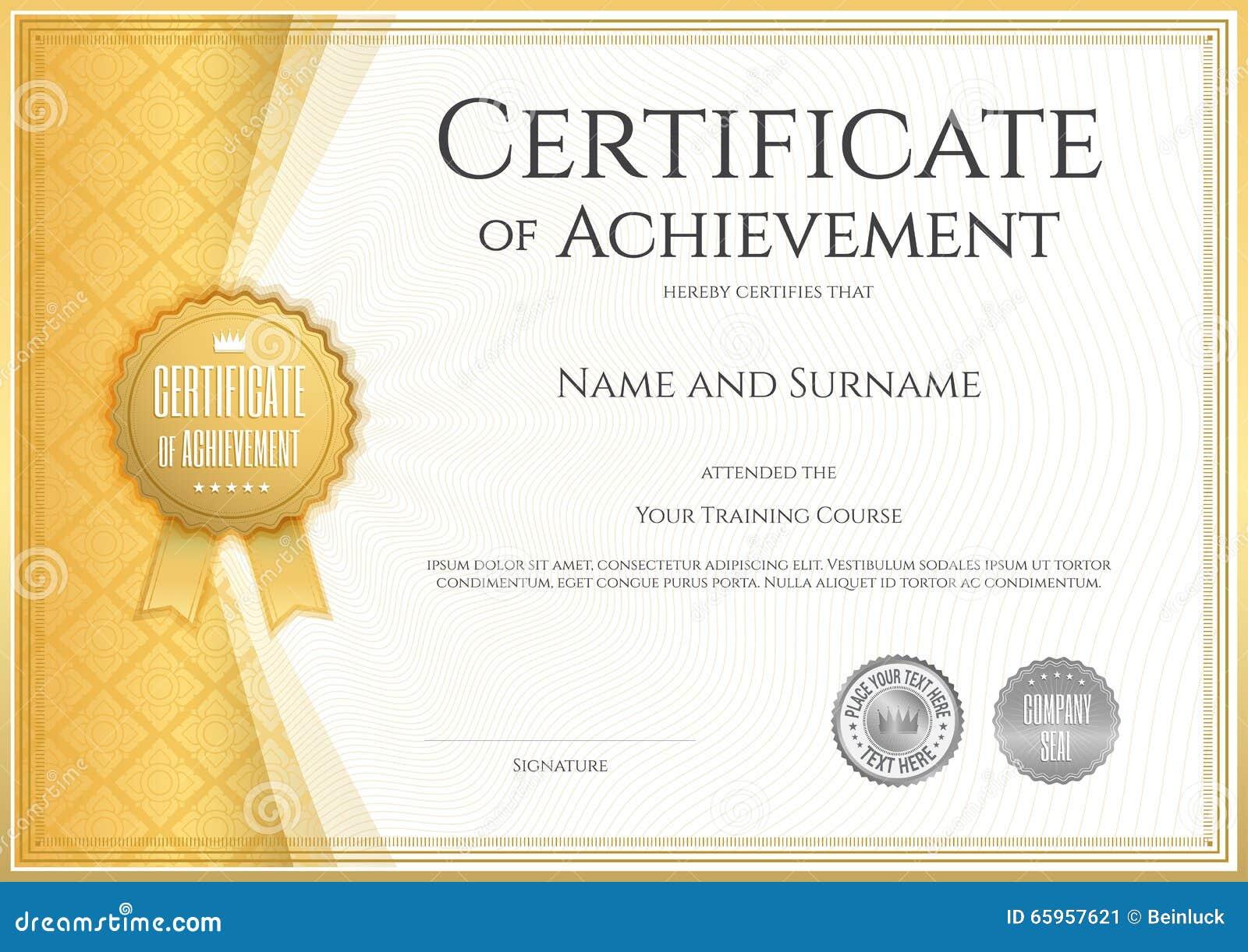 Certifikat av prestationmallen i vektor