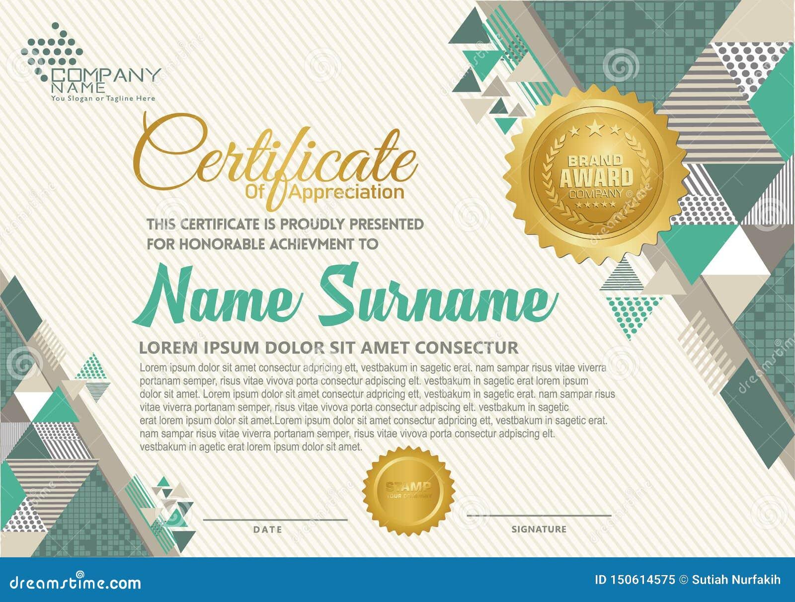 Certifikatmall med den polygonal elegant och modern modellen för stil,