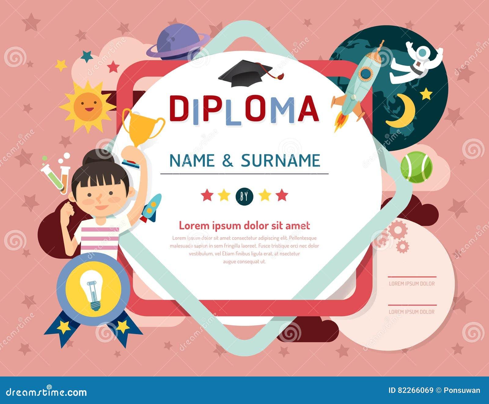Certifique el diploma de los niños, espacio de la disposición de la plantilla de la guardería