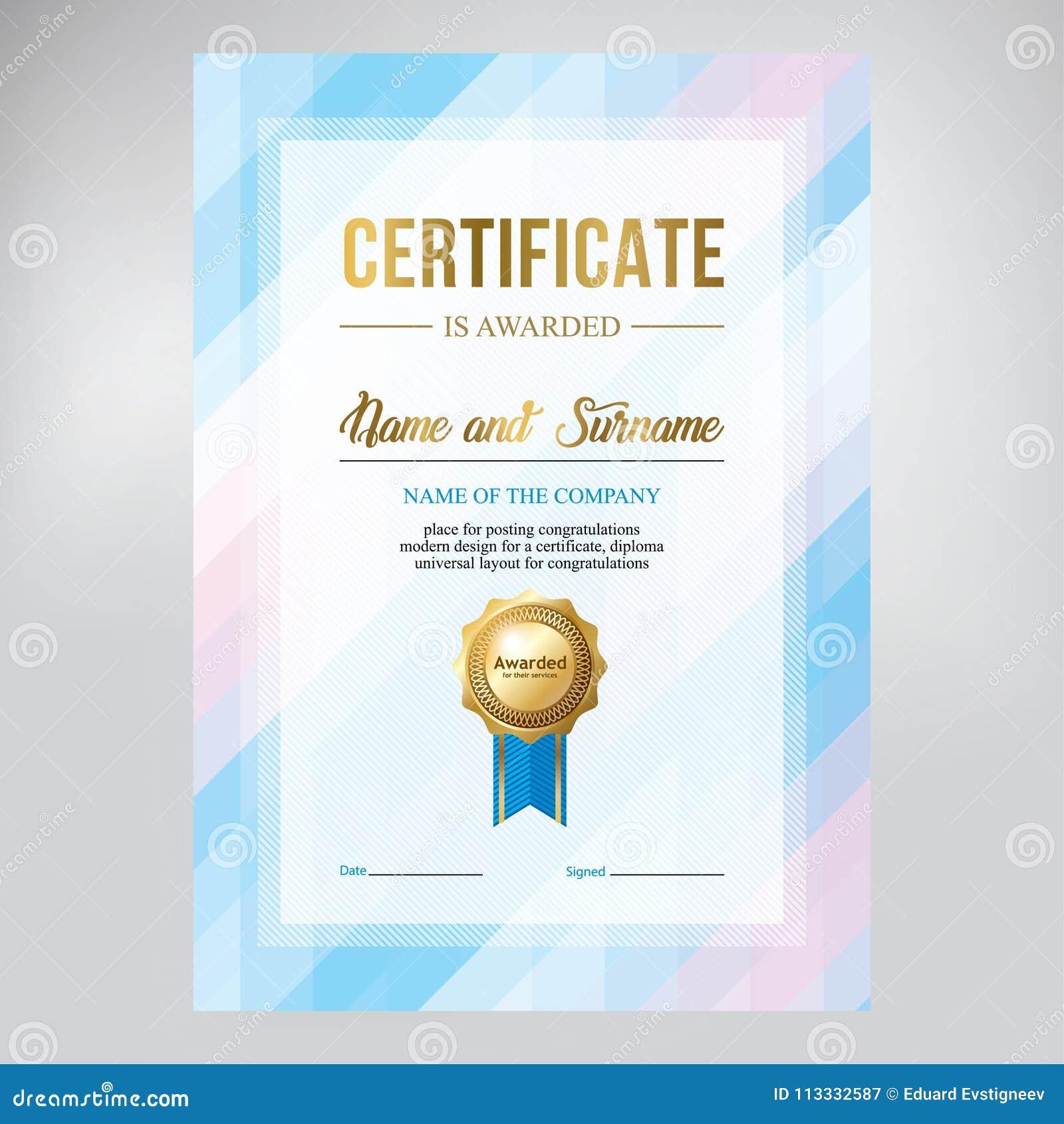 Certifique El Diseño, Plantilla Del Diploma, Fondo Azul Geométrico ...