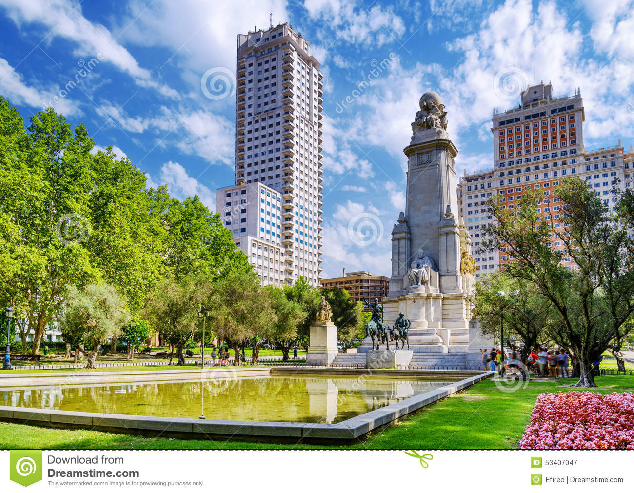 The Cervantes Monument The Tower Of Madrid Stock Image Image Of