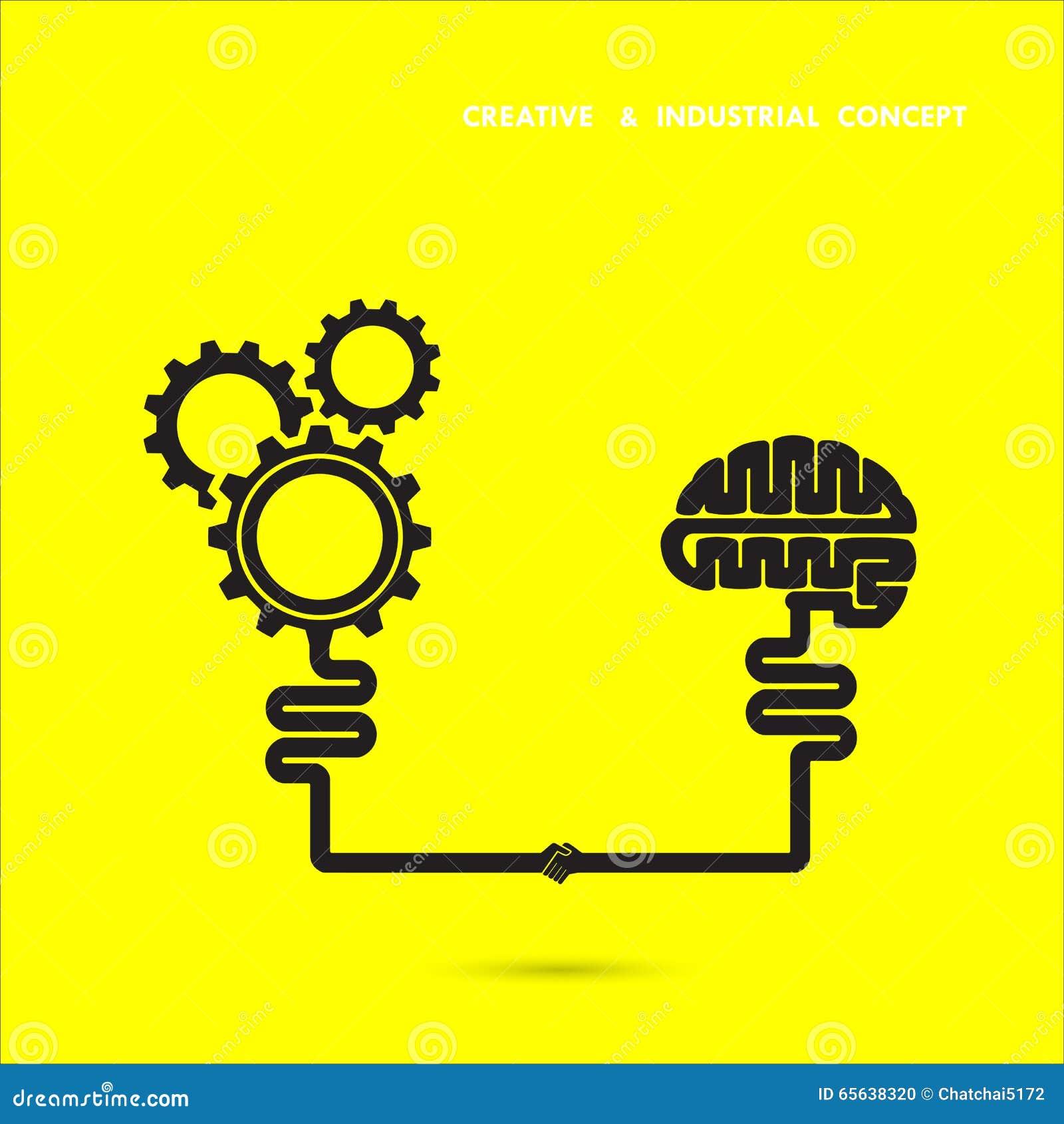 Cerveau créatif et concept industriel Icône de cerveau et de vitesse cerveau