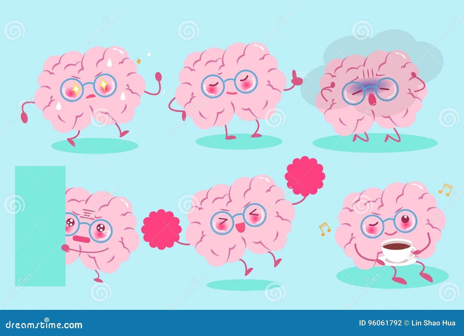 Cerveau mignon de bande dessinée