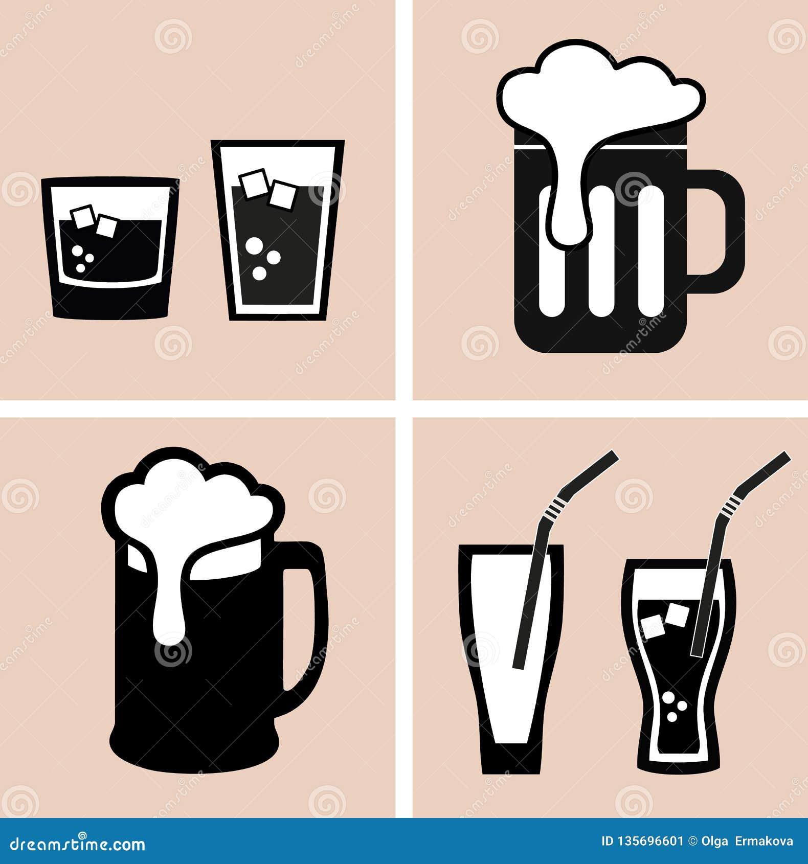 Cerveja cocktail Alcoólico e refrescos Ícones ajustados