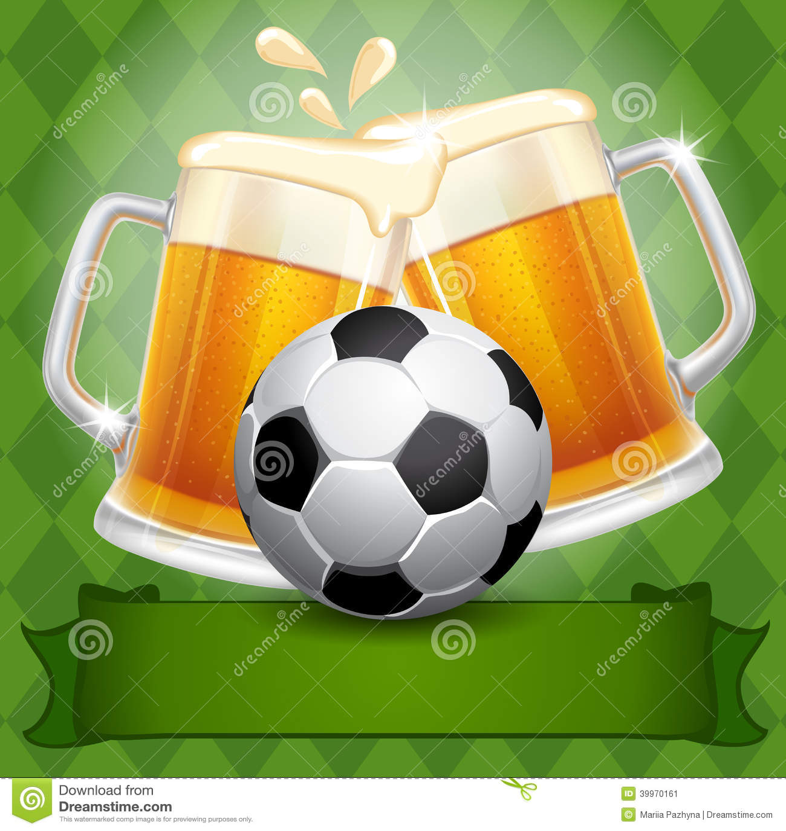 Cerveja E Bola De Futebol Ilustração do Vetor - Imagem ...