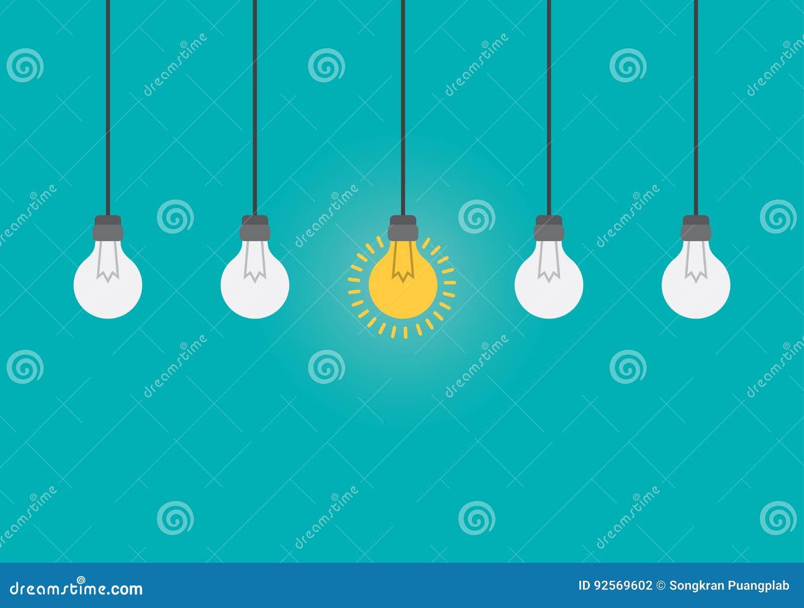 Cervello d ardore dentro la lampadina, concetto di idea, illustrazione piana di stile