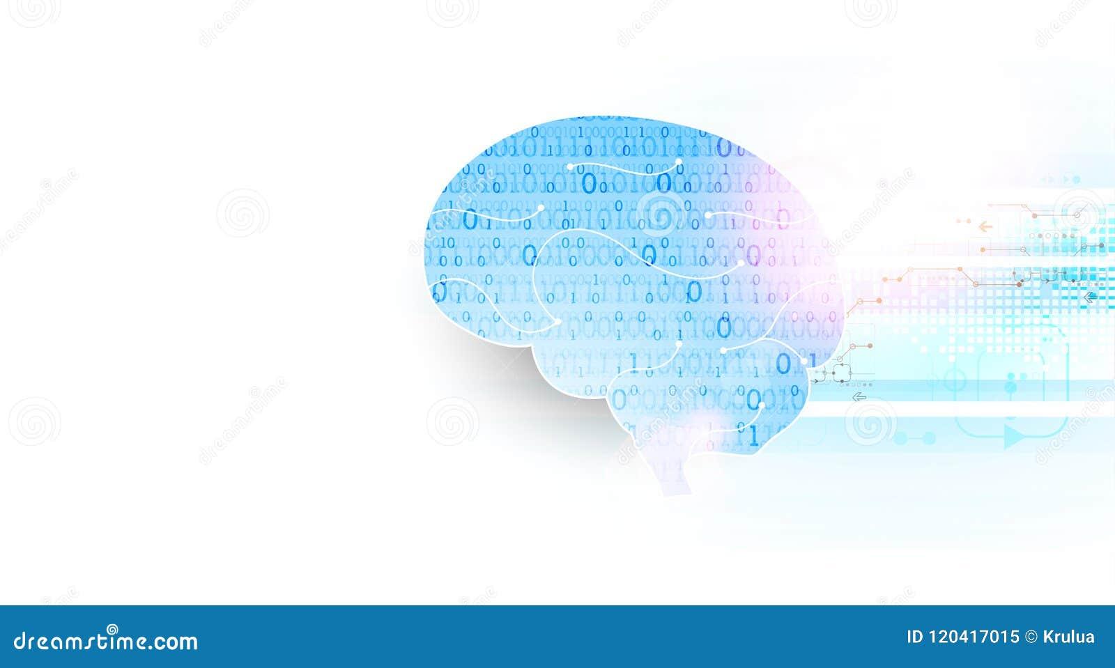 Cervello digitale astratto, concetto di tecnologia Vettore