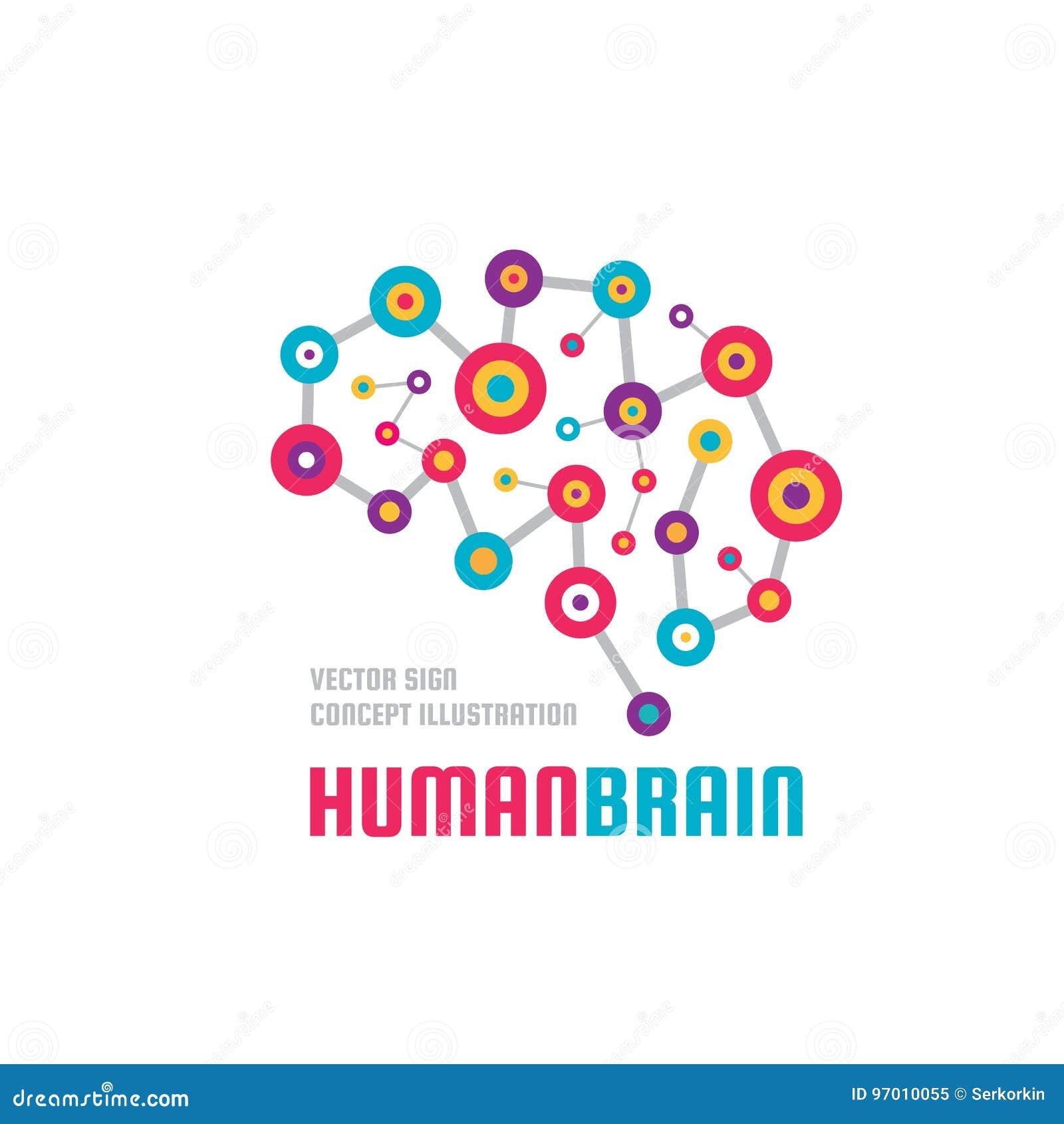 Cervello umano astratto - illustrazione di concetto del modello di logo di vettore di affari Segno variopinto di idea creativa Si