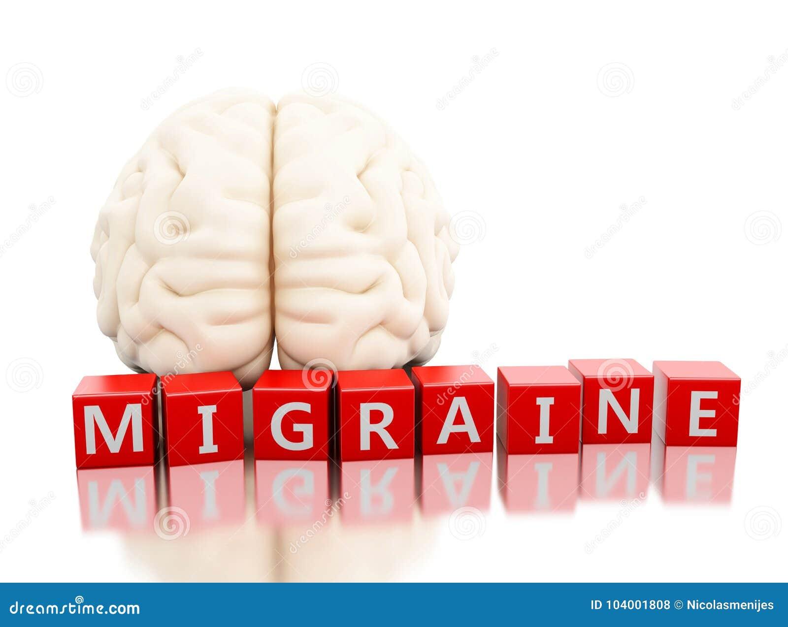 Cervello umano 3d con la parola di emicrania in cubi