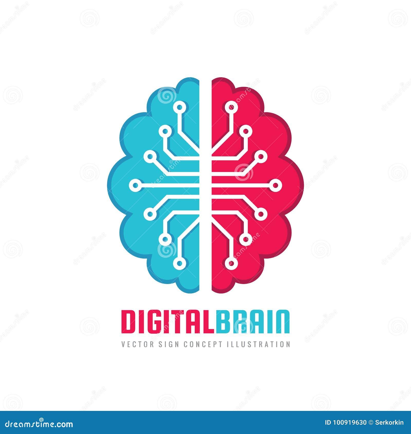 Cervello umano di Digital - vector l illustrazione di concetto del modello di logo Segno di mente Simbolo di pensiero di istruzio