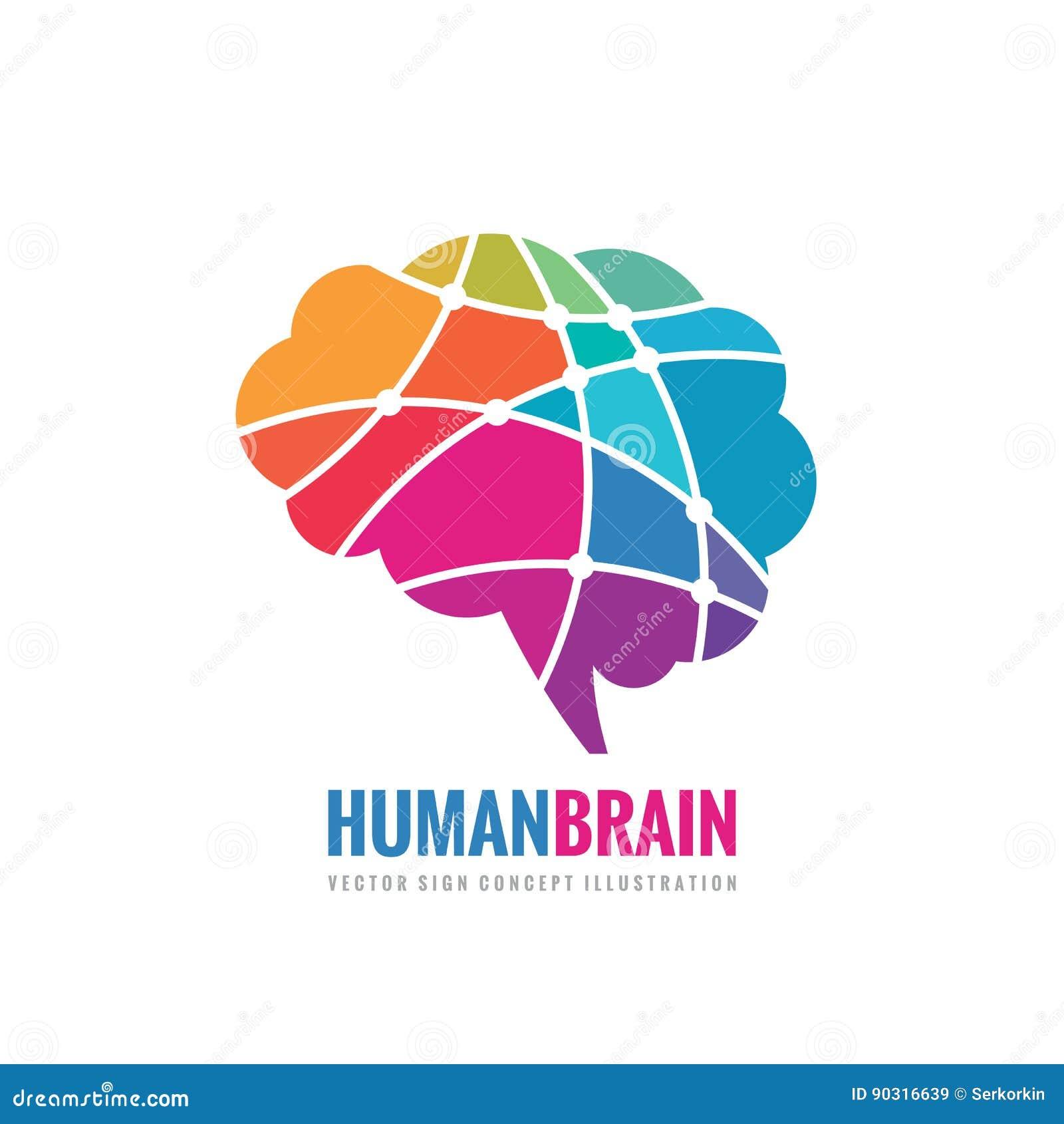 Cervello umano - illustrazione di concetto del modello di logo di vettore di affari Segno creativo astratto di idea Elemento di d