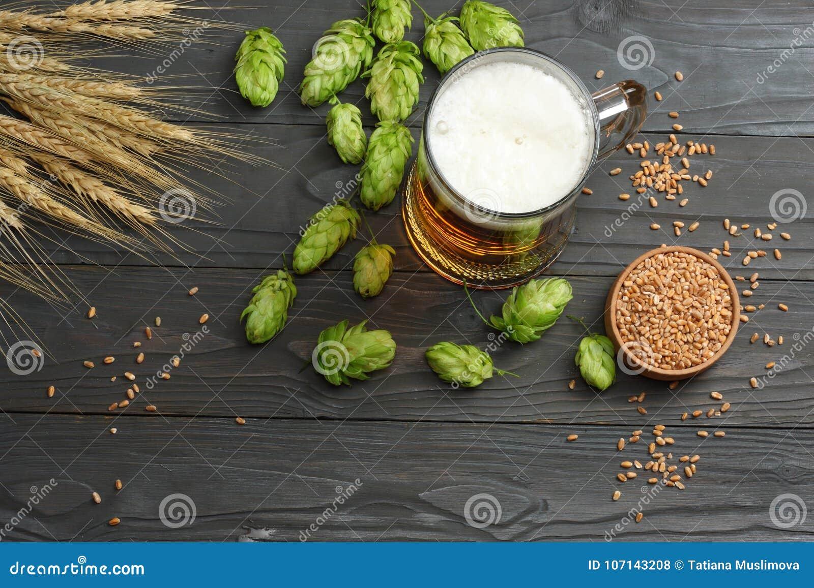 Cerveza de cristal con los conos de salto y los oídos del trigo en fondo de madera oscuro Concepto de la cervecería de la cerveza
