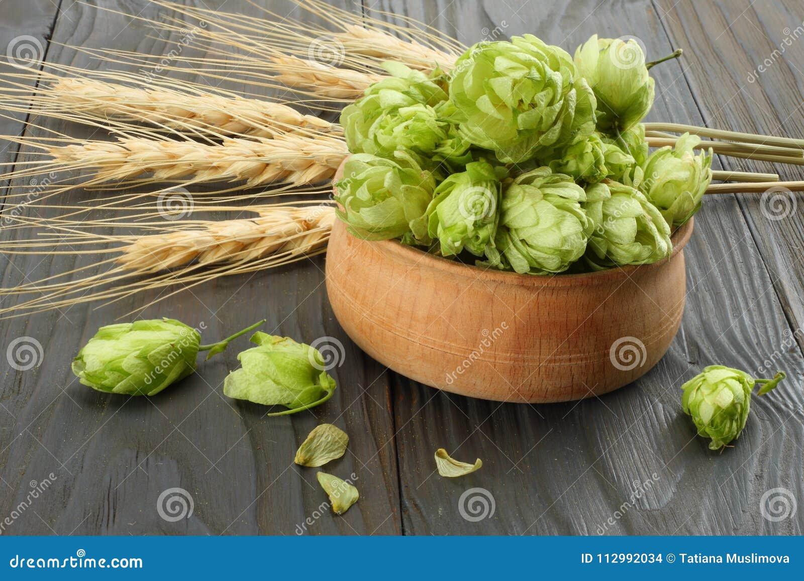 Cerveza que elabora los conos de salto de los ingredientes y los oídos del trigo en la tabla de madera oscura Concepto de la cerv