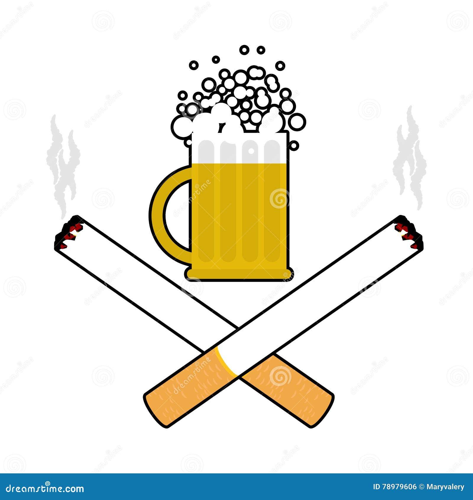 Cerveza Y Cigarrillos Alcohol Y Muestra Que Fuma Logotipo Para El ...