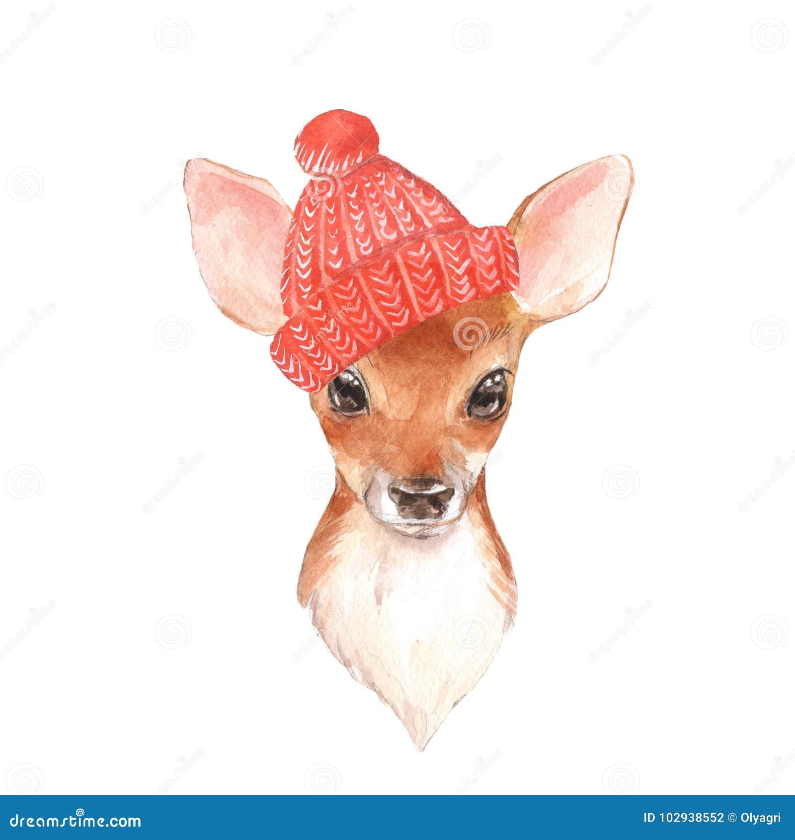 Cervi del bambino in cappello rosso Fawn sveglio disegnato a mano