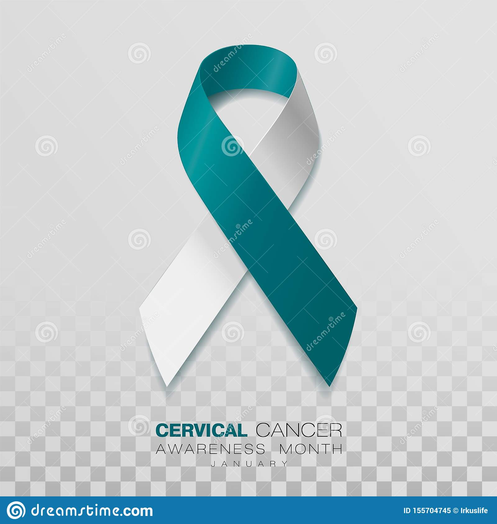 Cervical Cancer Awareness Month. Teal And White Ribbon Isolated On Transparent Background. Vector Design Template For