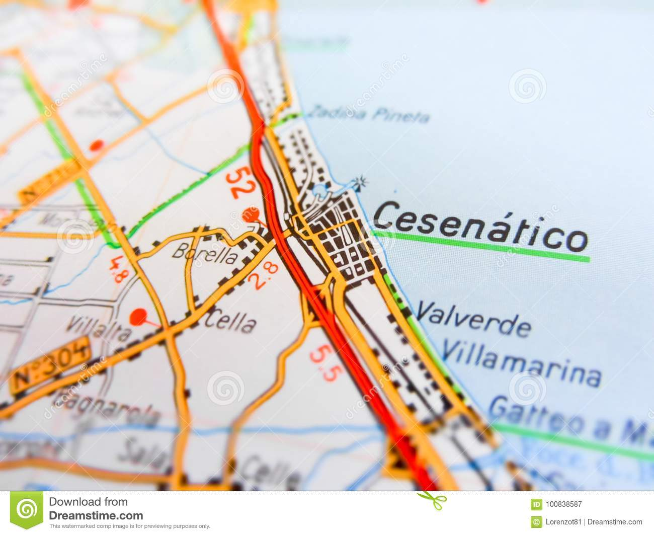 Road Map Of Italy.Cesenatico City Over A Road Map Italy Stock Image Image Of