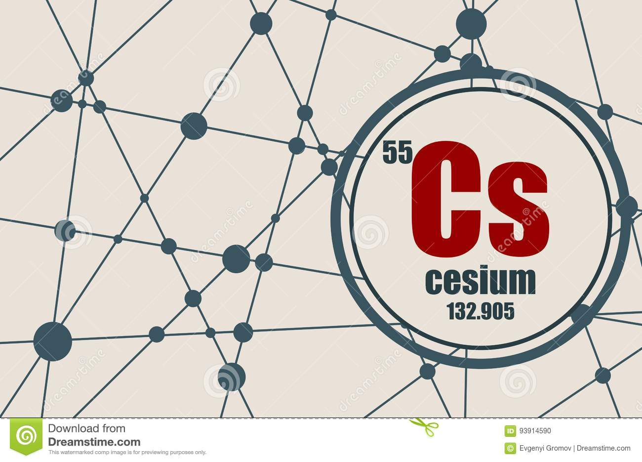 Cesium chemical element  stock vector  Illustration of